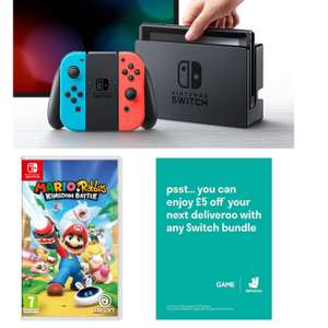 Nintendo Switch Neon/ Grey + Mario and Rabbids + £5 deliveroo credit* @ GAME (next day tracked DPD delivery)