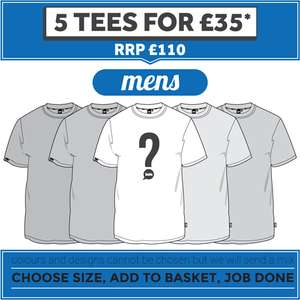 PLAIN LAZY - MYSTERY MENS or LADIES T SHIRTS - PACK OF 5 - £35