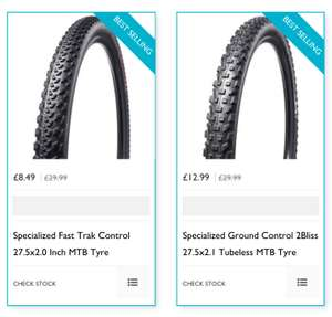 "Specialized mountain bike tyres ground control TR 27.5 x 2.1 £12.99 Delivered or fast trak 27.5 x 2.0"" £8.49 (+£1.99 P&P) at Rutland Cycling"