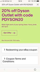 20% of Dyson Outlet @ eBay max £160 Off