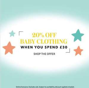 Spend £30 on baby clothing and get 20% off @ Asda George