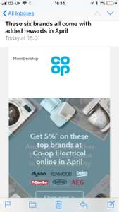 5% discount on electrical with co-op membership