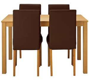 Elmdon oak effect dining table & 4 chairs choice of 4 chair colours now £150.94 delivered plus £10 voucher if you buy today @ Argos