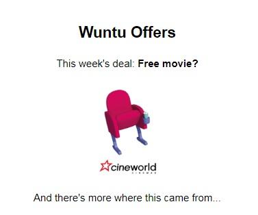 FREE Cineworld Ticket from Wuntu + other offers @ WUNTU (Three)