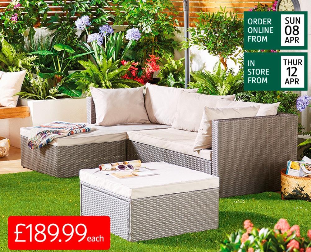 Rattan garden sofa set £189.99 pre order or collect in-store @ Aldi