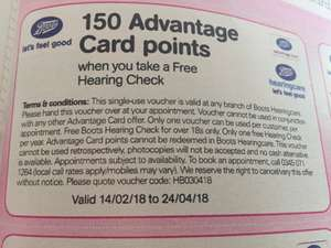 FREE hearing test at Boots, PLUS 150 advantage card points - inside Boots magazine