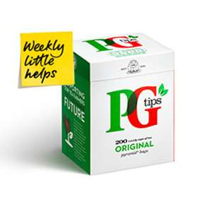 PG Tips Original Tea Bags Pack of 200 for £2.80 was £5.60 @ Tesco