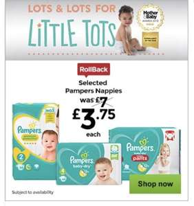 Pampers £3.75 per pack @ Asda