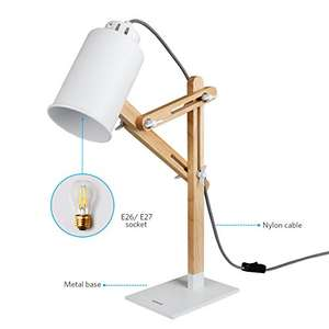 Tomons Wooden Desk lamp with Multi-Angle Swing Arm Designer £23.99 @ Sold by Inateck and Fulfilled by Amazon