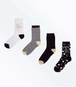 12 pairs womans socks (3 x 4 pack) £5.00 + £3.99 delivery or £2.99 C+C (Free on orders over £19.99) @ New Look