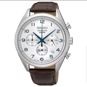 Seiko Men's Chronograph Steel Brown Leather Strap Watch £99.99 + Get £25 off your next purchase offer at 	H Samuel