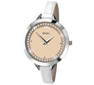 Seksy Ladies' Rose Dial Stone Set White Leather Strap Watch for £19.99 (down from £59.99) @ Argos