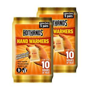 Hot Hands Hand Warmer Value Pack, 5 x Pack of 2 (10 pairs) £6.42 prime / £11.17 non prime @ Amazon