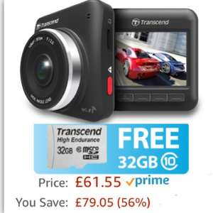 Transcend DrivePro 200 Dashcam with Built-In Wi-Fi (32gb MLC HIGH ENDURANCE Micro SD included) £61.55 @ amazon