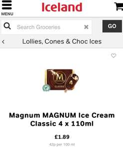 Magnum Classic or White at Iceland 4 X 110ml £1.89 @ Iceland