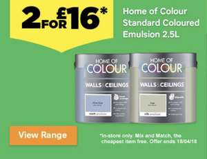 2 for £16 Home of Colour 2.5L paint @ Homebase