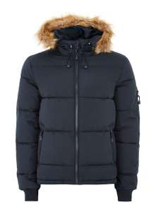 Navy Hooded Puffer Jacket £20 free C&C @Topman