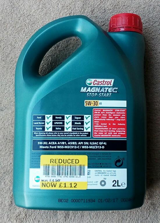 Castrol Magnatec Stop Start Engine Oil 2ltr 5W-30 (A5) £1.12 at Tesco instore