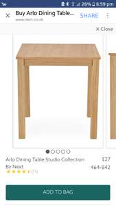NEXT Arlo dining table - £35 delivered @ Next Clearance