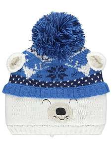 Fleece Lined Knitted Polar Bear Bobble Hat 4-8 yrs -£2.00 (was £4.50) & Asda Direct - Free C+C