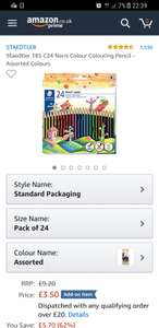 Staedtler 185 C24 Noris Colour Colouring Pencil - Assorted Colours £3.50 (add-on) @ Amazon