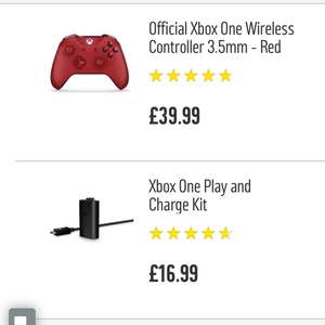 Xbox One Controller + Play and Charge Kit £51.98 Argos