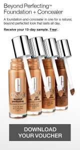 CLINIQUE  FREE* 10 DAYBEYOND PERFECTING™ FOUNDATION + CONCEALER SAMPLE.