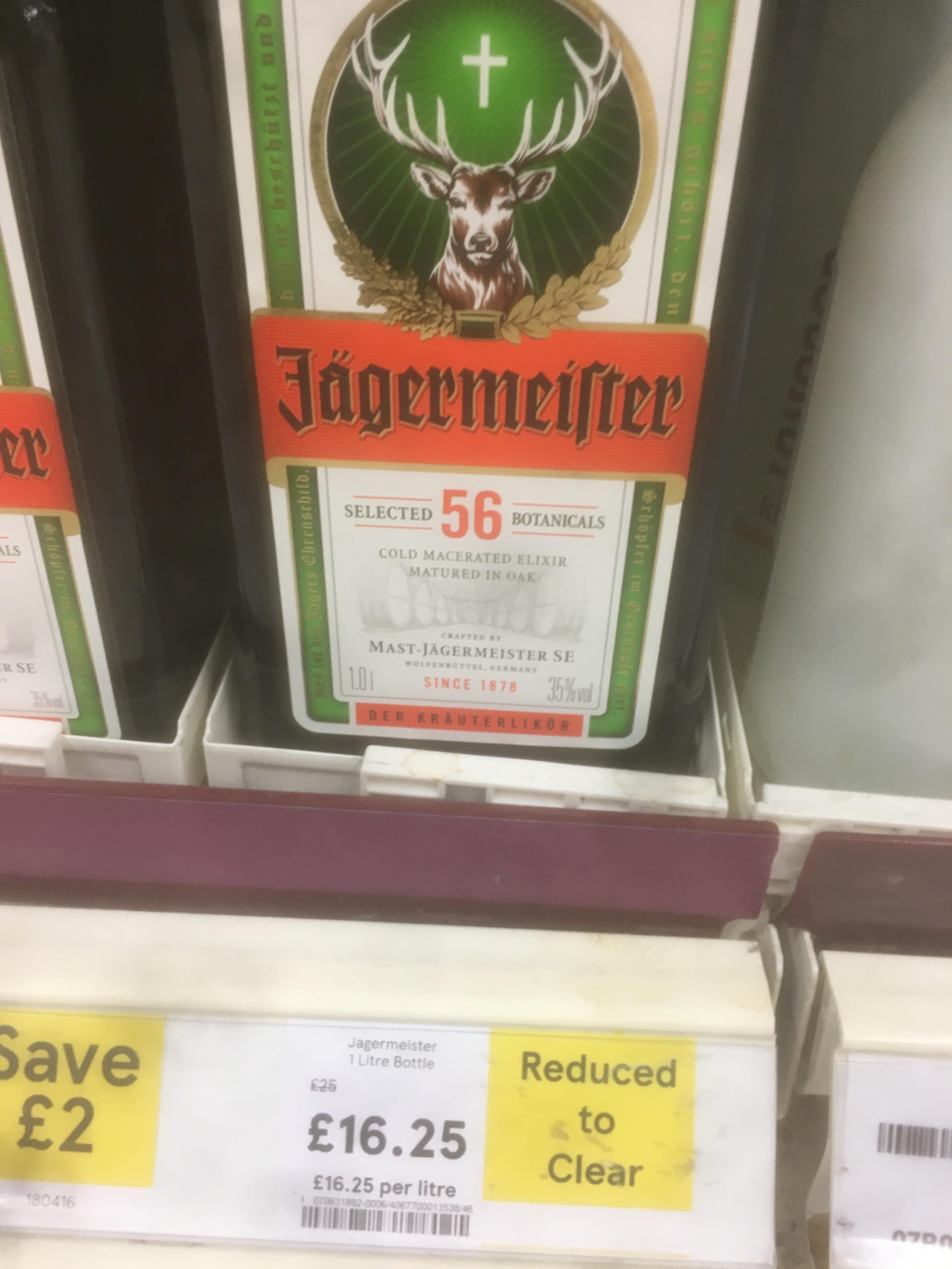 Jagermeister - 1 litre bottles - Tesco instore - £16.28