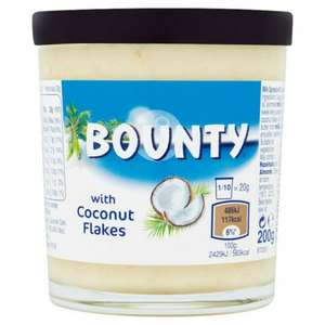 BOUNTY CHOCOLATE SPREAD WITH COCONUT FLAKES 200G @ Poundstretcher - £1