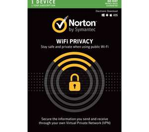Norton Wi-Fi Privacy 2018 - 1 year for 1 device (Download) at Currys - £17.99 (C&C)
