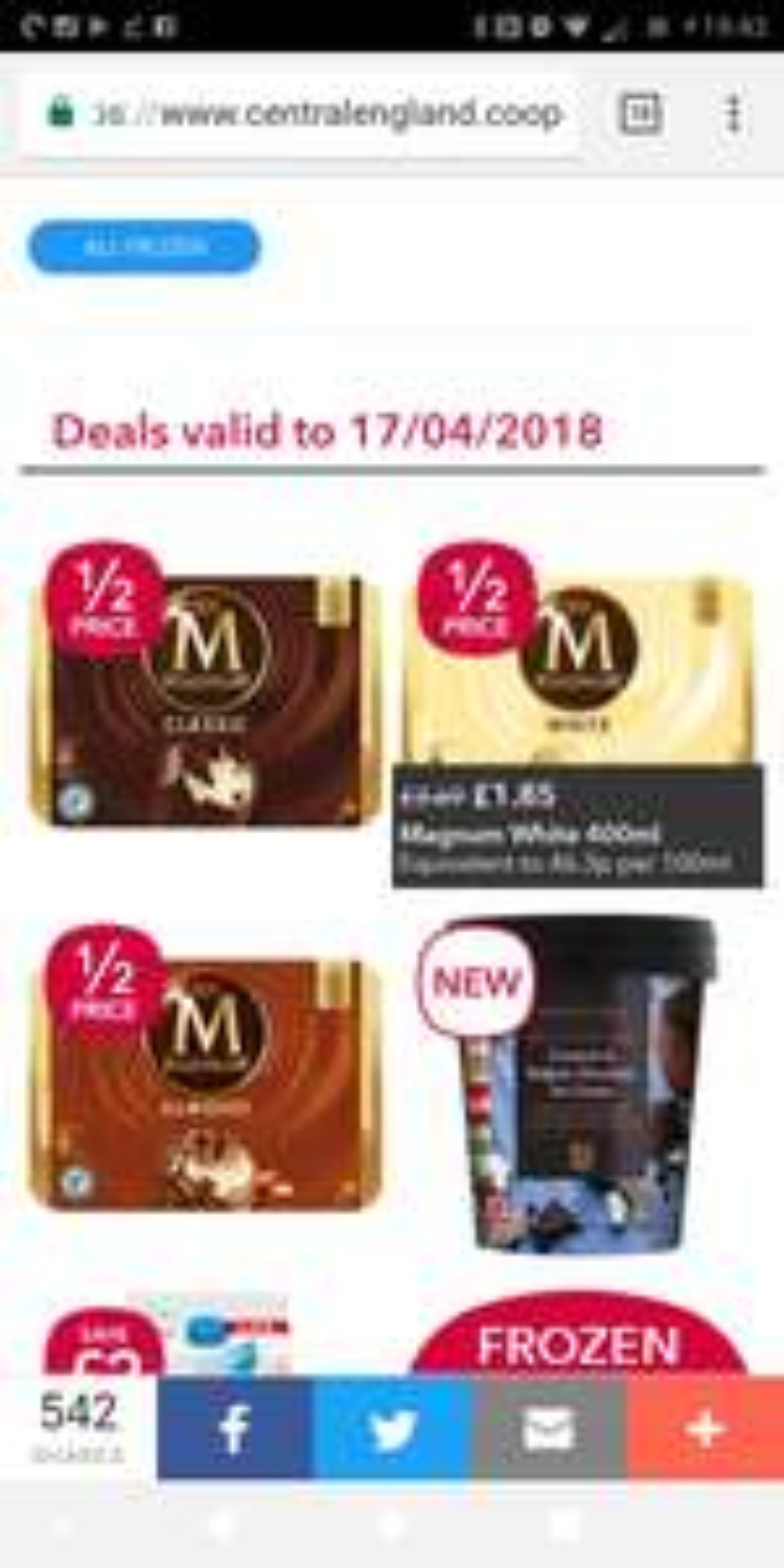 4 X Magnum Ice creams £1.85 @ Co-op