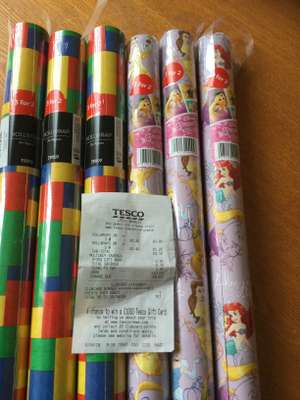 Tesco 2m Disney princess wrapping paper reduced to 30p plus others included in the 3 for 2 gift wrap offer in-store @ Tesco, Bramley.