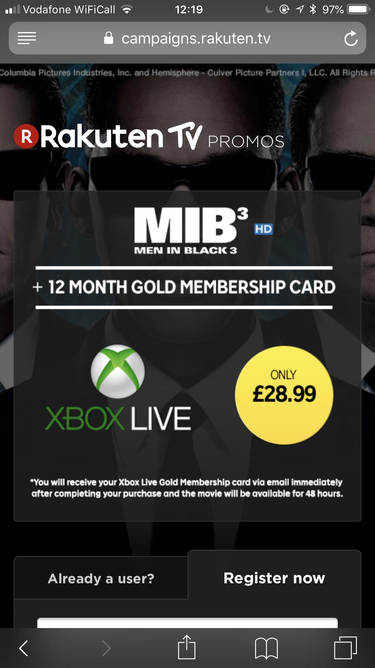 Xbox Live Gold 12 Month + Men in Black 3 HD Rental - £28.99 @ Rakuten