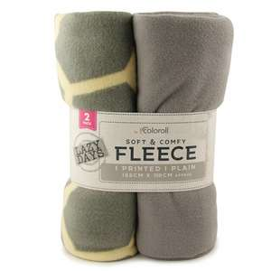 Coloroll pack of 2 fleece throws- grey & geometric £3.99 @ Poundstretchers