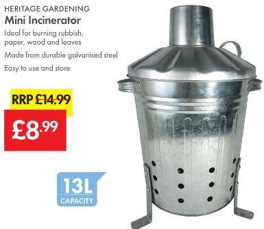 Mini Incinerator £8.99 (RRP £14.99) 13L Capacity - LIDL (Heritage Gardening)