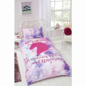 Rainbow Unicorn Single Duvet Set £12.99 @ B&M