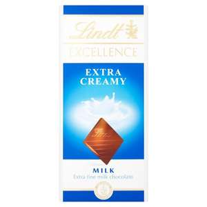 Lindt Excellence Extra Creamy Milk Chocolate Bar 100g £1-29 at WHSMITHS