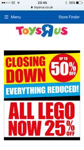 All Lego now 30% off at toys r us