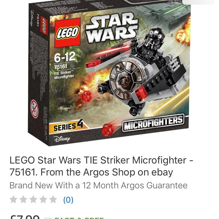 Lego 75161 Star Wars Tie Striker - £7.99 delivered at Argos eBay