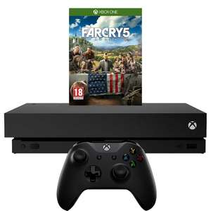 Xbox One X Far Cry 5 bundle + Extra Wireless controller - Black + Halo 5 Guardians + Venom Dual Charging Dock £454 @ Tesco