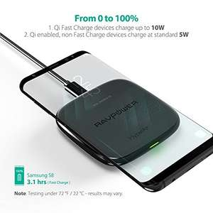 Qi Charger, RAVPower Fast Wireless Charger  (QC 3.0 Adapter Included) - Promotion £9 Pound off Sold by Sunvalleytek-UK and Fulfilled by Amazon