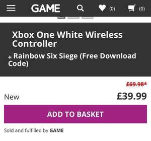 Xbox One Controller (White) + Rainbow 6 Siege Download Code (Xbox One) £39.99 @ GAME online