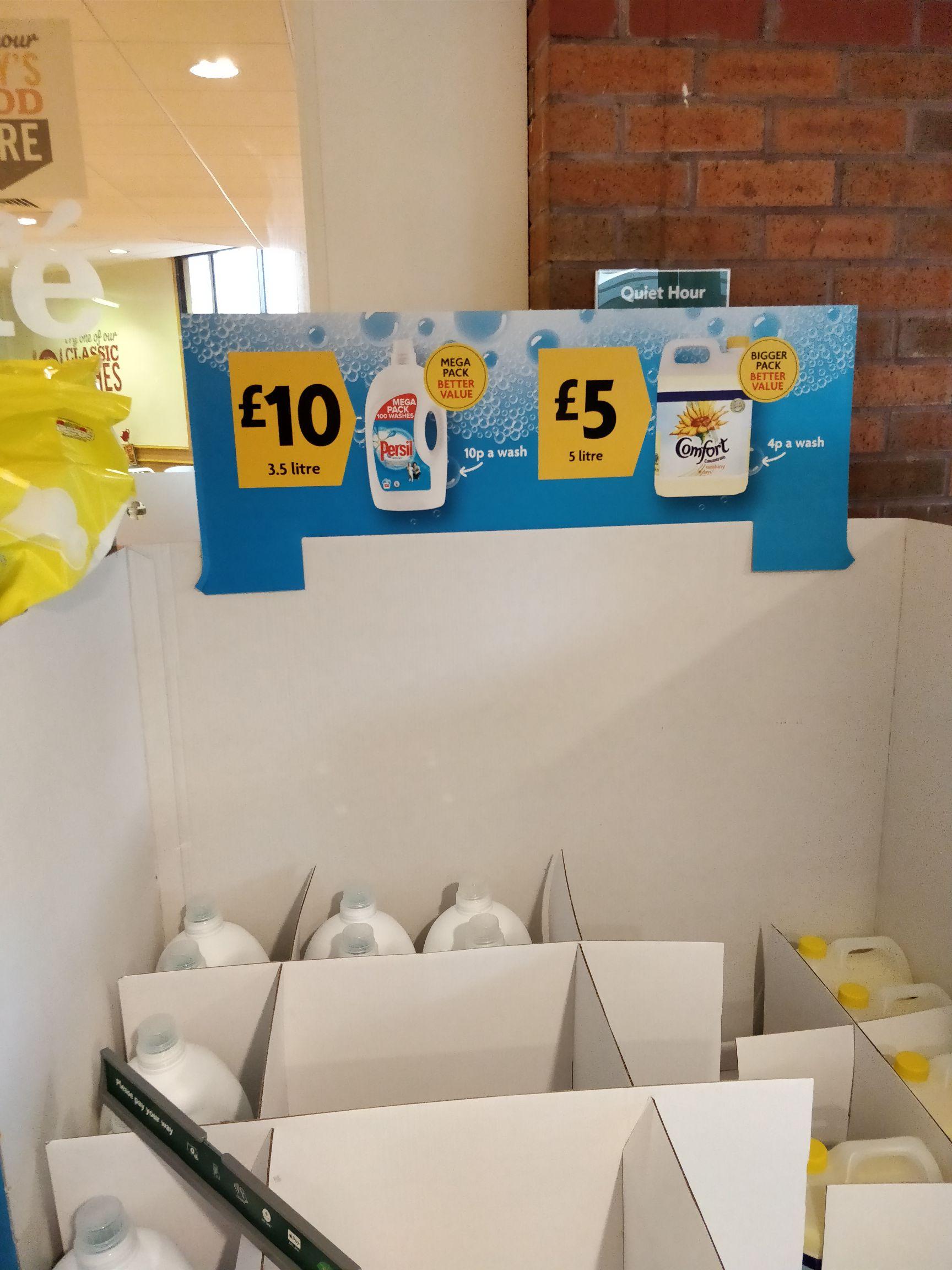 Persil 100 Wash £10 & Comfort 166 Wash £5 @ Morrisons. 7 pcent cashback on Santander 1/2/3 cards with a £30 Spend.