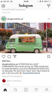 FREE doughnut giveaway today 12pm - 1pm @ Westfield Stratford (London)