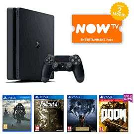 PlayStation 4 Console 1TB with Shadow of the Colossus, Fallout 4, DOOM With UAC Pack. Prey and NOW TV 2 Months Entertainment PassFor £279.99 delivered @ Game