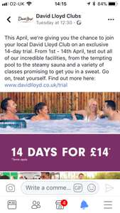 David Lloyd 14 day pass! £14