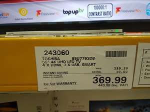 "Toshiba 55U7763DB LED 4K Ultra HD Smart TV, 55"" with Built-In Wi-Fi, Freeview HD. 5 Year Warranty £443.98 @ Costco"