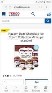 Two packs of Haagen Dazs mini cups 4×100ml for £7 (normally £4.20 each). Tesco  Instore & online