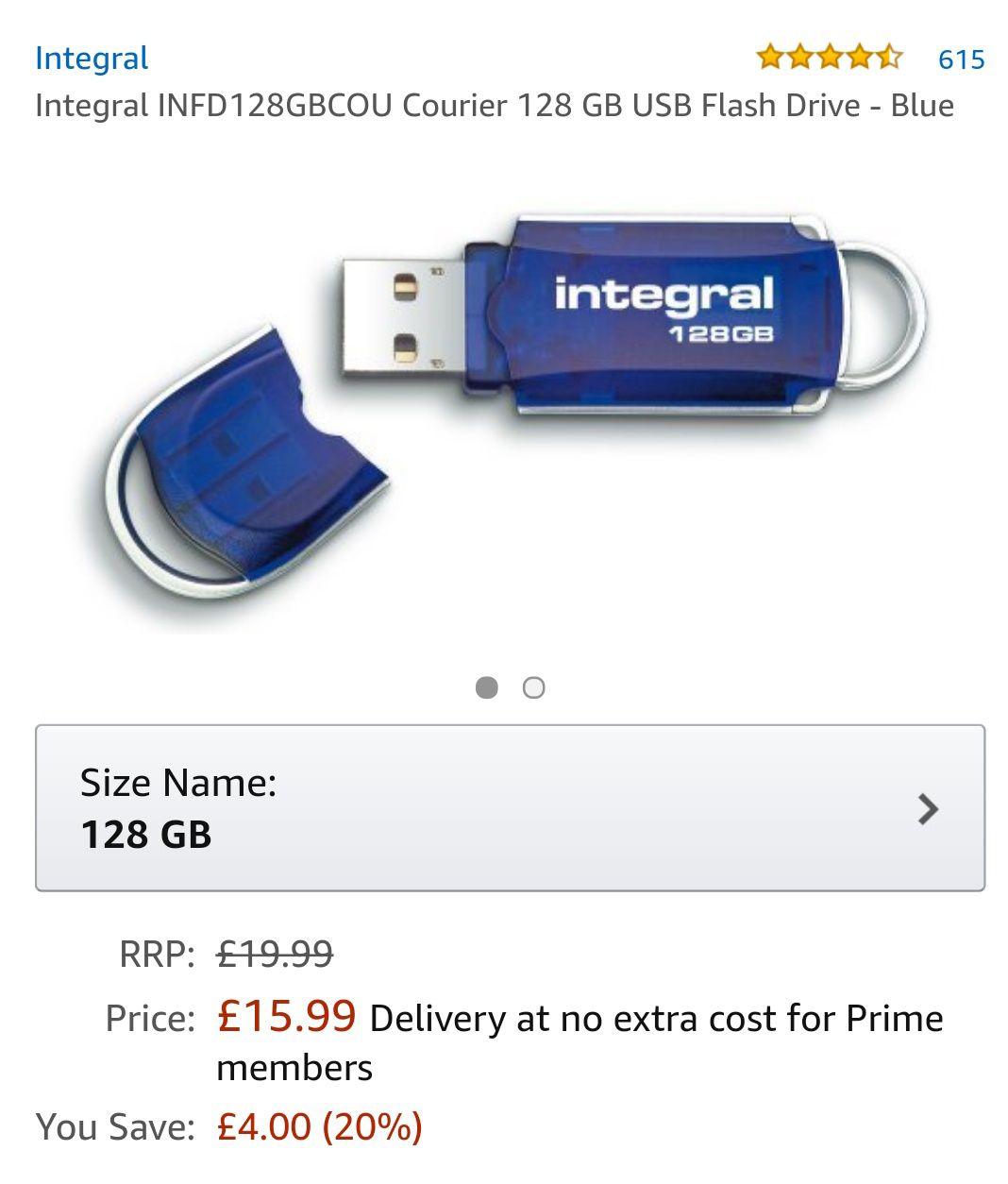 Integral USB 2.0 128GB Memory Stick £15.99 Prime Members (£18.98 non Prime) at Amazon