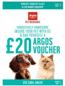 Get pet insurance and get a £20 voucher for argos